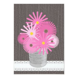 Tin Can Of Pink Wildflowers Personalized Announcement