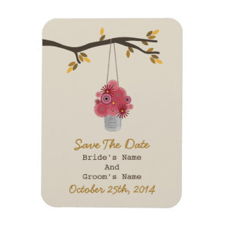 Tin Can Of Red Flowers Fall Wedding Save The Date Magnet