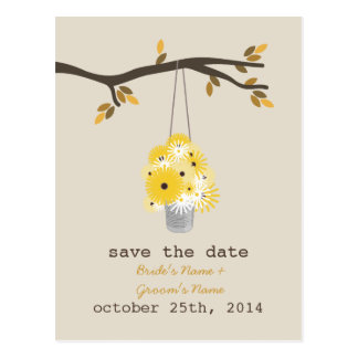 Tin Can Of Wildflowers Fall Wedding Save The Date Postcard