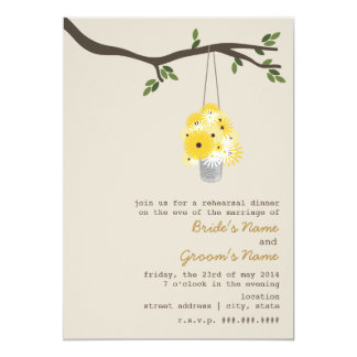 Tin Can Of Wildflowers Rehearsal Wedding 5x7 Paper Invitation Card