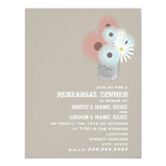Tin Can Peach & Blue Floral Rehearsal Dinner Card