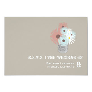 Tin Can Peach & Blue Floral Wedding R.S.V.P. Personalized Announcements