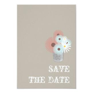 Tin Can Peach & Blue Floral Wedding Save The Date Card