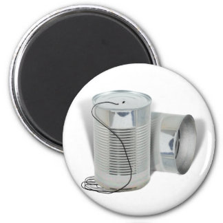 Tin Can Phone (Can you hear me NOW?) 2 Inch Round Magnet