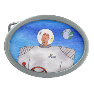 Tin Can Space Man Oval Belt Buckle