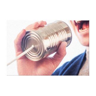 Tin can telephone canvas print
