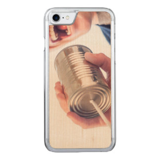 Tin can telephone carved iPhone 7 case