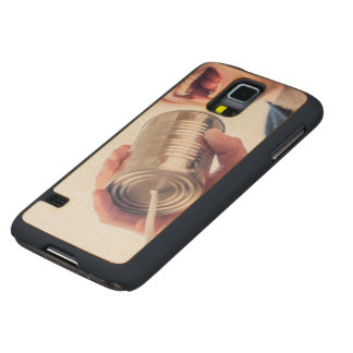 Tin can telephone carved maple galaxy s5 case