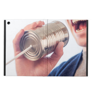 Tin can telephone cover for iPad air