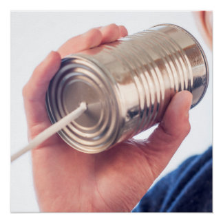 Tin can telephone poster