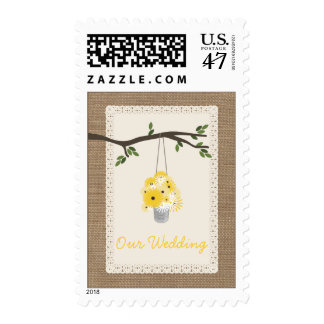 Tin Can Wildflowers Burlap Inspired  Wedding Postage