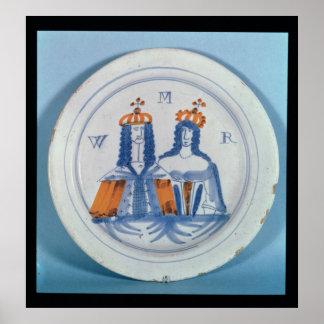 Tin-glazed earthenware plate, Lambeth, c.1689 Poster