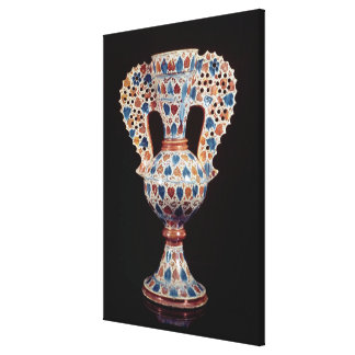 Tin-glazed vase with lustre decoration canvas print