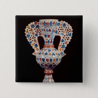 Tin-glazed vase with lustre decoration pinback button