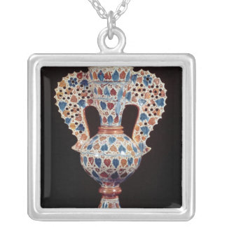 Tin-glazed vase with lustre decoration silver plated necklace