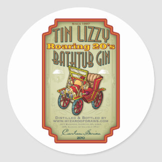 Tin Lizzy Bathtub Gin Classic Round Sticker