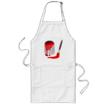 TIN OF RED PAINT AND PAINTBRUSH LONG APRON