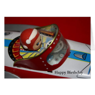Tin Toy Rocket/Space Ship Birthday Wishes Card
