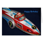 Tin Toy Rocket/Space Ship  Happy Birthday Card