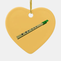 Tin Whistle Gold Green Birthday Christmas Heart Christmas Tree  Ornament at Zazzle
