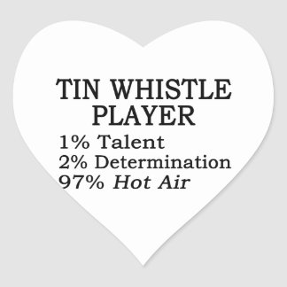 Tin Whistle Player Hot Air Heart Sticker