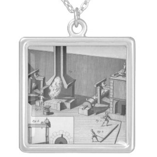 Tin workshop, engraved by Benard, Robert Silver Plated Necklace