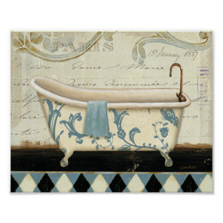 Tina de baño blanca y azul del vintage poster