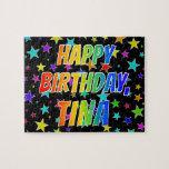 "[ Thumbnail: ""Tina"" First Name, Fun ""Happy Birthday"" Jigsaw Puzzle ]"