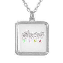 TINA NAME FINGERSPELLED ASL SIGN SILVER PLATED NECKLACE