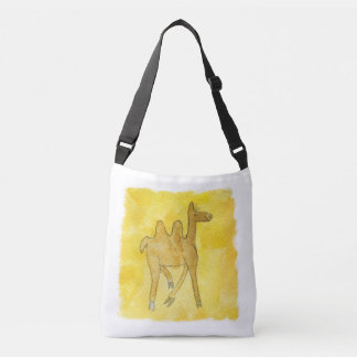 Tinca's Drawings. Childish Watercolor with Camel Crossbody Bag