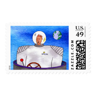 TinCan SpaceMan Postage Stamp