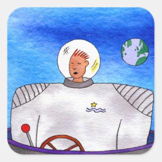 TinCan SpaceMan square Stickers