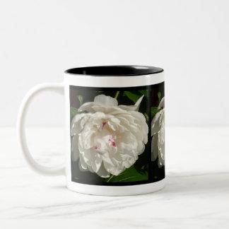 Tinged Red White Peony Two-Tone Coffee Mug
