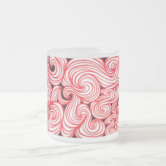 Tingwald Abstract Expression Red White Black 10 Oz Frosted Glass Coffee Mug