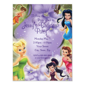 Tinker Bell and Friends Birthday Invitation 4.25