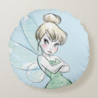 Tinker Bell   Arms Crossed Pastel Round Pillow