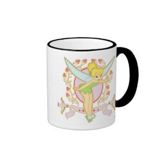 Tinker Bell Floral Frame Disney Ringer Coffee Mug