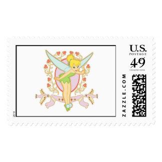 Tinker Bell Floral Frame Disney Postage Stamps
