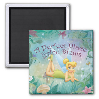 Tinker Bell Laying Down 2 Inch Square Magnet