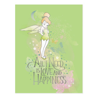 Tinker Bell Love And Happiness Postcard