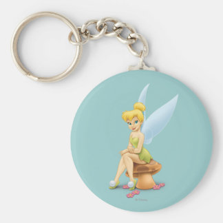 Tinker Bell Sitting on Mushroom Basic Round Button Keychain