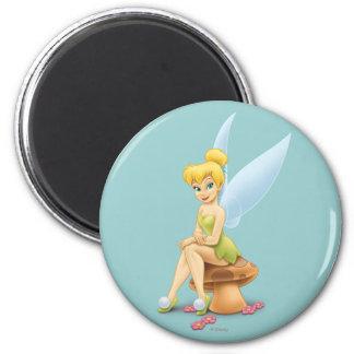 Tinker Bell Sitting on Mushroom Magnet