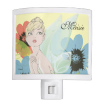 Tinker Bell Sketch & Flowers - Add Your Name Night Light
