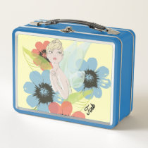 Tinker Bell Sketch With Cosmos Flowers Metal Lunch Box