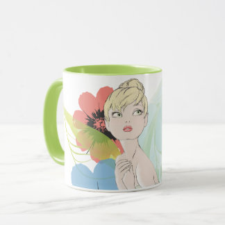 Tinker Bell Sketch With Cosmos Flowers Mug