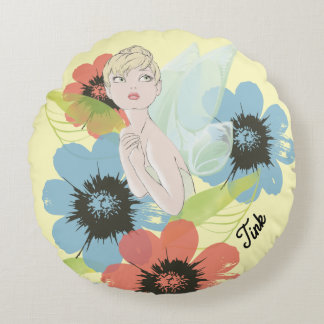 Tinker Bell Sketch With Cosmos Flowers Round Pillow