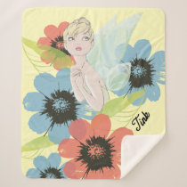 Tinker Bell Sketch With Cosmos Flowers Sherpa Blanket