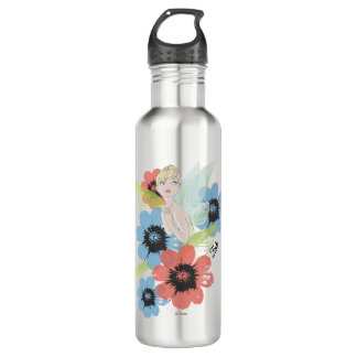 Tinker Bell Sketch With Cosmos Flowers Stainless Steel Water Bottle