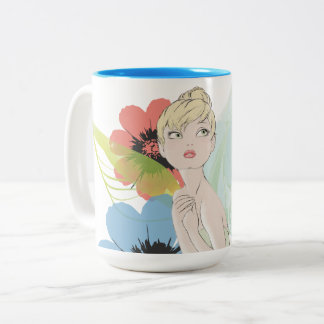 Tinker Bell Sketch With Cosmos Flowers Two-Tone Coffee Mug