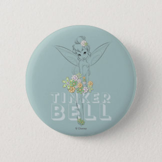 Tinker Bell Sketch With Jewel Flowers Button